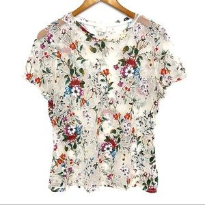 A New Day | Sheer Floral Soft Patchy Shirt Sz XL